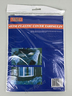 Large Clear Plastic Cover Sheet Tarpaulin 4X5M Paint Dust Cover Sheet-AU H2476