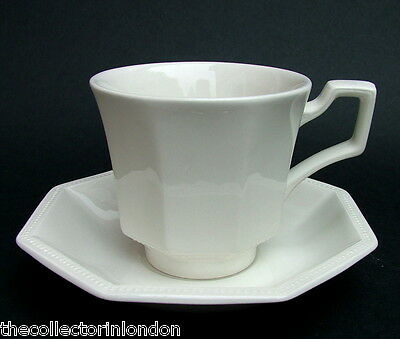 TWO Johnson Brothers Heritage White Pattern Small Coffee Cups & Saucers in VGC