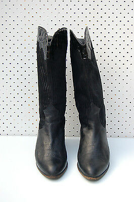 Size 40 Vintage Ladies 80s Black rock grunge with studs high leather boots