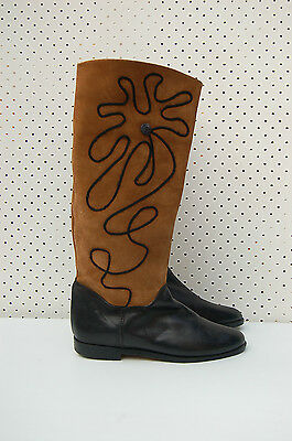 Size 40 Vintage Ladies Black Brown flat riding leather high boots Italy