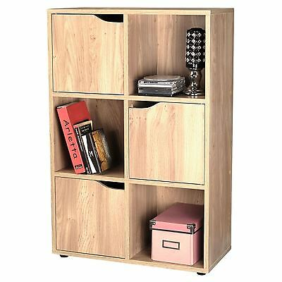 Oak Effect Wooden Storage Unit Display Shelving Bookcase Shelf  6 Cube 3 Door