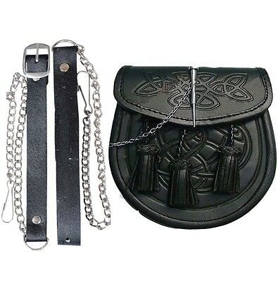 Leather Celtic Sporran Embossed Black Leather Latch Pin Kilt With Belts 7 Inch