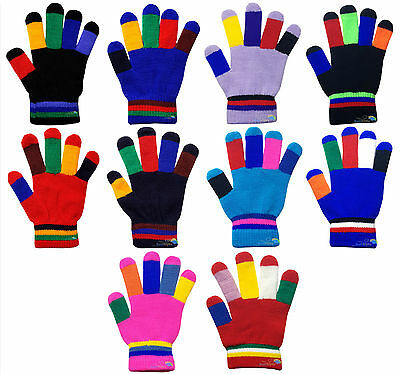 Children's Kids Magic Gloves Colourful Fingers Boys Girls Winter Warm One Size