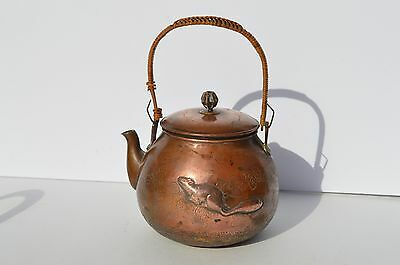 Exquisite Antique Japanese Brass Teapot Embossed Beaver ? Engraved Leaves