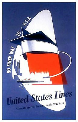 United States Line German Publicity Poster  11 x 17