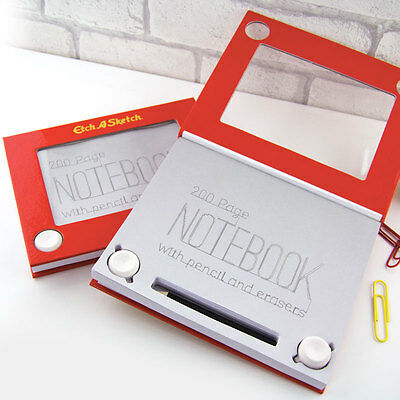 Etch A Sketch Note Pad Retro Hardback Notebook With A Pencil & Erasers