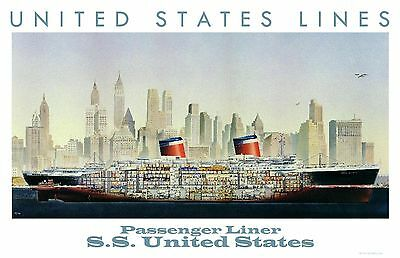 United States Lines S.S. United States Cut-away Poster  11 x 17