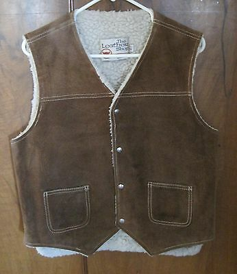 Vintage Mens Sears Leather Shop Suede Vest Shearling Lined Western M