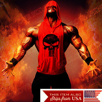 Hoodie Punisher Tank Stringer Golds Men Bodybuilding Gym Muscle  FAST SHIPPING!!