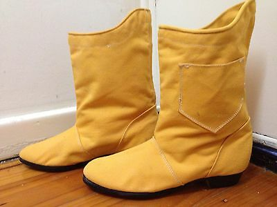 Funky Yellow Ankle Boots With Pocket Size 3 1980s Canvas