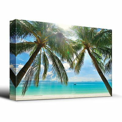 wall26-Tropical Beach Palm Trees Ocean- Canvas Wall Art Home Decor- 16x24 inches