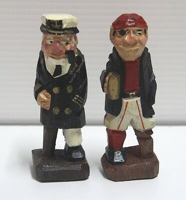 Antique Sailor Carved Out Of Wood Captain With Peg Leg Holding A Pipe Nautical