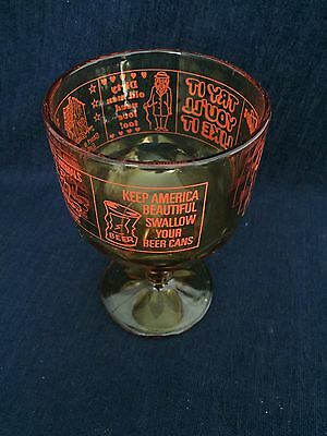 Vintage Novelty Bar Glass Humorous Funny Drinking Amber 500 ml Glass