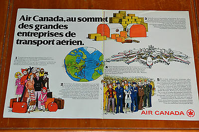 1976 French Air Canada Airline Large Canadian Ad - Vintage 70S Retro Transport