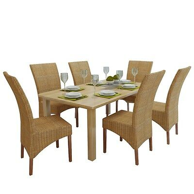 New Set of 2 / 4 / 6 Handwoven Genuine Rattan Dining Chairs Solid Mango Wood