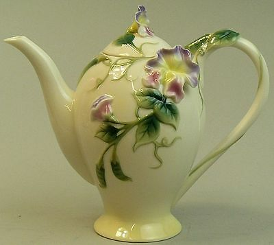 A Fine Franz Porcelain Sweet Pea Design Coffee Pot
