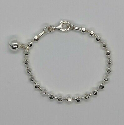 925 Sterling Silver Child / Baby Christening Bracelet / Anklet with Bell  in Box