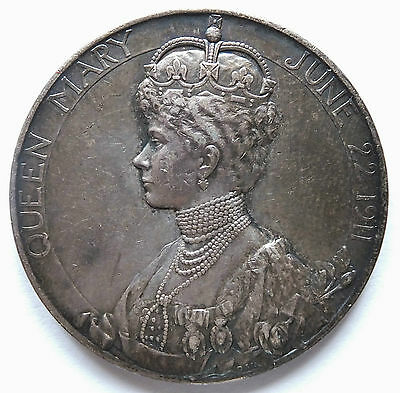 1911 Silver Coronation Medal George V Queen Mary (3770)