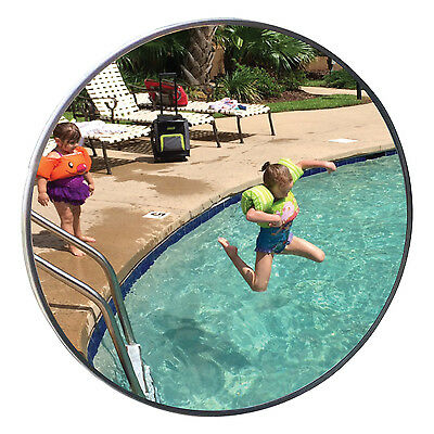 """18"""" Dia.Swimming Pool Safety Acrylic Convex Mirror/18' Viewing /Made in USA"""