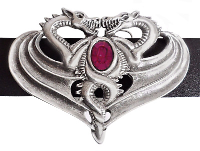 Opposing Dragons Belt Buckle - Hand Made in Pewter with  Amethyst-coloured Stone