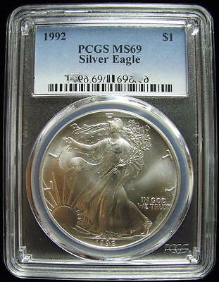 1992 PCGS MS69 Silver AMERICAN EAGLE Walking Liberty Coin