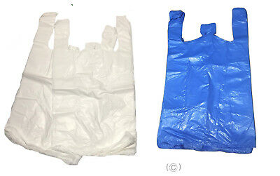 80 Plastic Vest Carrier Bags Blue Or White *All Sizes* Supermarkets