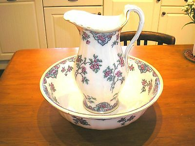 ANTIQUE Losol HAND DECORATED WASH BOWL & JUG/PITCHER - 2 chips