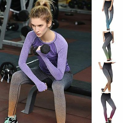 Women's Sexy Yoga Running Pants High Waist Trousers Fitness Gym Clothes