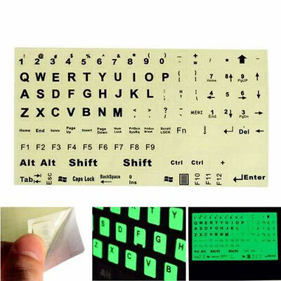 English US Keyboard Fluorescent Sticker Large Black Letters for Computer LaptopT