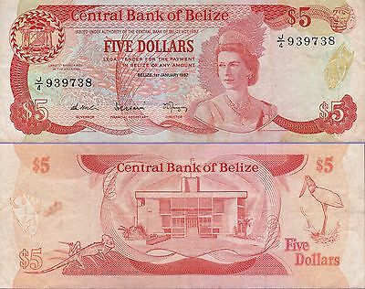 Belize 5 Dollars Banknote,1.1.1987 Choice Fine Condition Cat#51-9738
