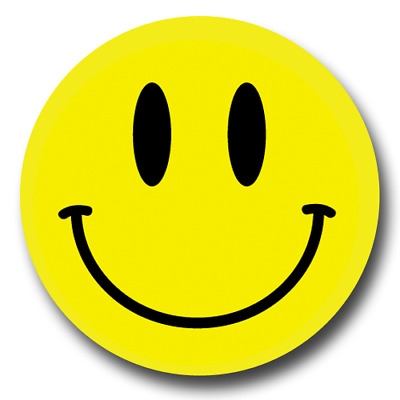 Smiley Face Pin-Back Button Pin - 6 SIZES - Happy Face Smile Laugh Yellow Round