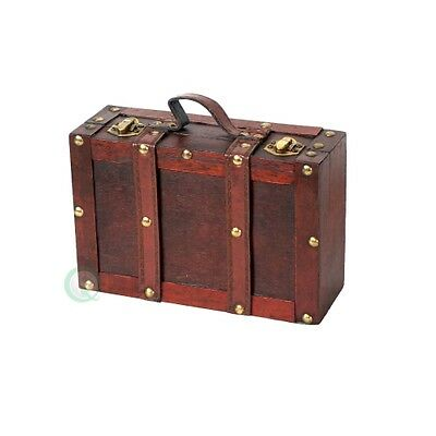 Vintiquewise Old-Fashioned Suitcase with Straps, Antique Cherry, Small