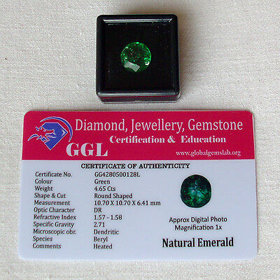 4.65 Ct GGL Certified Emerald Round Shaped Gemstone - VVS Quality - Zambia