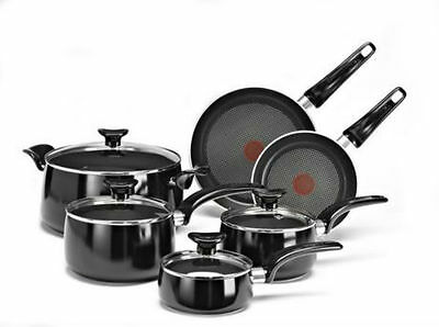 T-fal Matisse 10-Piece Cookware Set Non-Stick Thermo-Spot Technology Black NEW