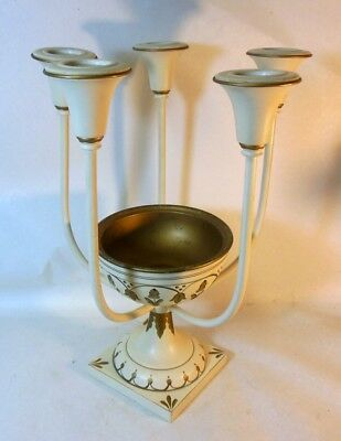 Vtg TOLE Metal Candeabra  Candle holder Centrepiece Neo Classic Regency