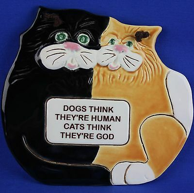 Smokey Mountain Pottery CAT Wall Plaque SMP Gatlinburg Tennessee
