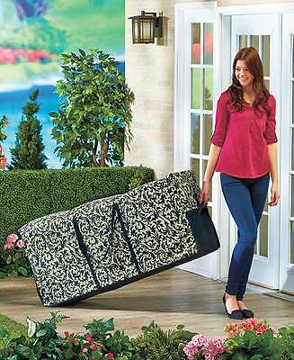 Rolling Outdoor Cushion Storage Bag with Handles for Patio Home Decor New