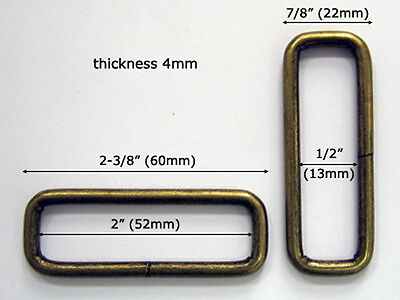 "BB32N-AB 50pcs 2""x1/2""x4mm ANTIQUE BRASS Metal rectangular loops unwelded rings"
