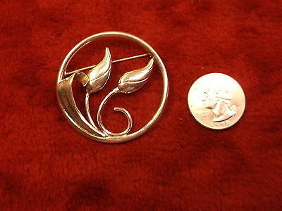 """Beautiful Vtg Sterling Silver Art Nouveau """"tulips"""" Brooch/pin (Round, Simple)"""