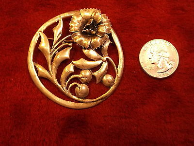 Very Large Old Vtg Sterling Silver Art Nouveau Flower Brooch/Pin, Round, Pretty!