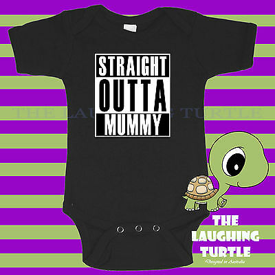 Baby  Romper. Funny. Baby Shower. Straight Outta Mummy. Cotton. Free Post