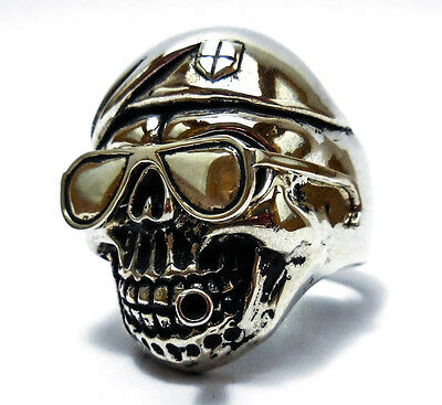 Ring The Expendables Totenkopf Rabe Gothic Biker Skull Raven Brass Silver Pl 67