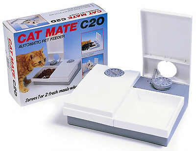 Cat Mate Kitten Automatic Feeder C20 - Serves Two Timed Meals Keeps Food Fresh
