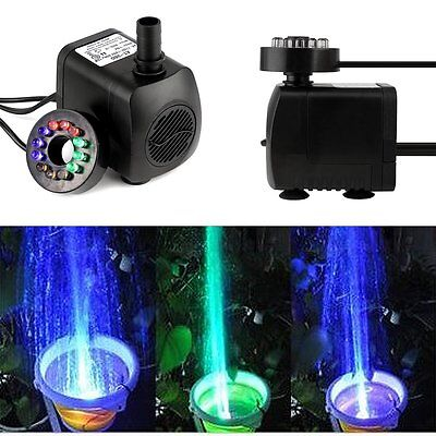 15W 270GPH Submersible Water Pump Aquarium Hydroponics Pond Fountain LED Light