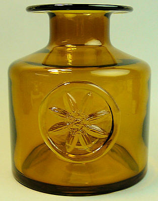 DARTINGTON AMBER GLASS CLEMATIS VASE BY FRANK THROWER 1970's