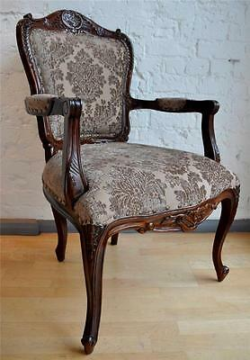 Boudoir Mahogany Quality French Period Walnut Mocha Louis Throne Armchair Chair
