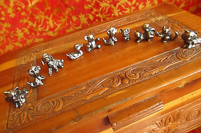 Lot 10 Dollhouse Miniature Unfinished Metal Animals Dog Cats Mice Lion squirrel