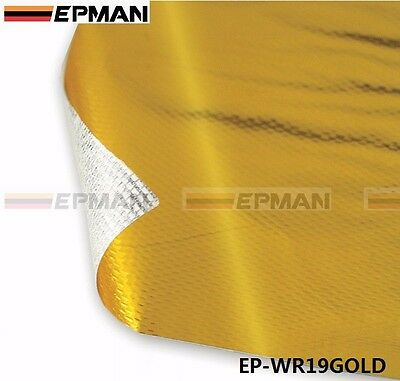 """39""""x47"""" SELF ADHESIVE REFLECT A GOLD HEAT WRAP BARRIER FOR THERMAL RACING INTAKE"""
