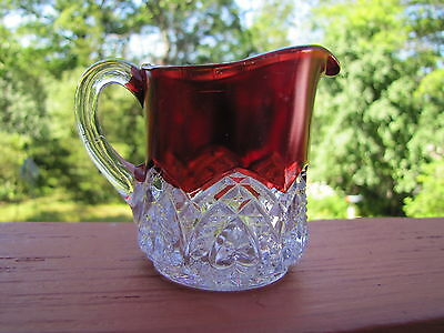 McKee Glass EAGP Heartband Ruby 3 Inch Pitcher ca. 1897 Antique