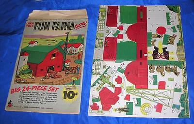 VTG 1940S REED ASSOC DIE CUT CARDBOARD TOY 24 PC FUN FARM XMAS PUTZ VILLAGE iop